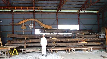 格納された梁材セット。長尺で均質な古材。