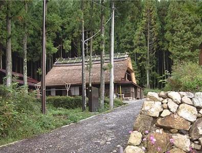 伝統民家遠望、林間に美しいたたずまいを見せる