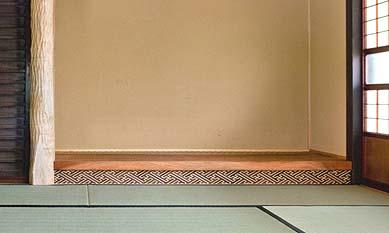 床の間の床框は小田原市の露木清勝様に発注の特注寄木細工です