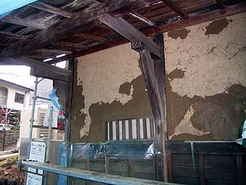 現状のまま修理できる壁は剥落した部分に荒壁付け