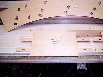 まず現寸図から水くるまの型板を作ります