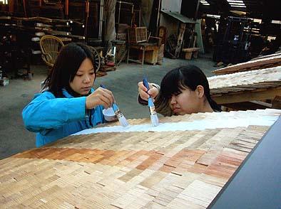 葺き上がった杮(こけら)屋根に薬剤を塗布する工学院大学の学生さん