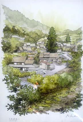 柿沼迪夫さんのスケッチ作品、上条集落が描かれていました。トタン屋根が消えて昔の茅葺き集落がよみがえりました