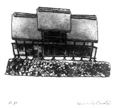 小俣邦夫さんの「塩山にて」、上条集落の甲州民家情報館が描かれておりました