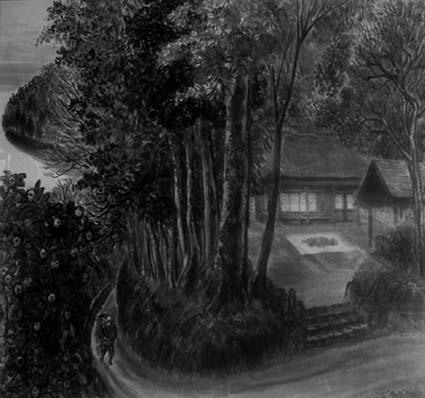 八木晴之さんの「蜜柑と茅葺き民家」、豊かな情感が描かれていました
