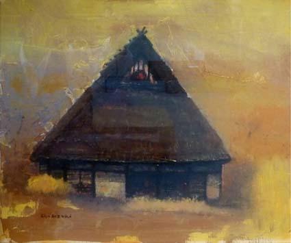 鈴木英二さんの「農家」、優れた建築家でもある鈴木さんの絵画での作品です
