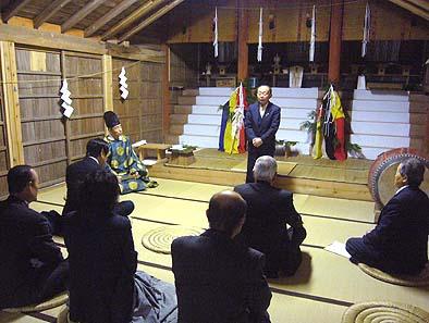 落慶式の様子、市長様にも参列いただき御挨拶をいただきました